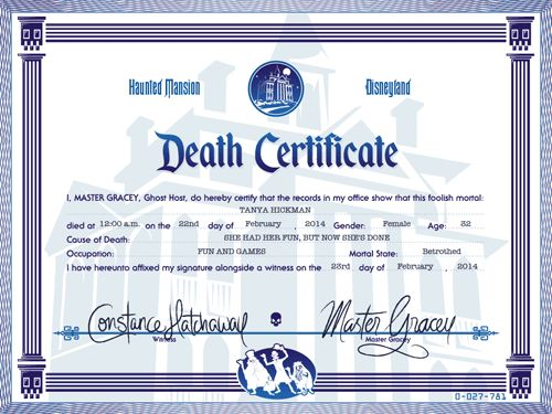 Create Your Own Haunted Mansion Death Certificate! – Capturing Magic