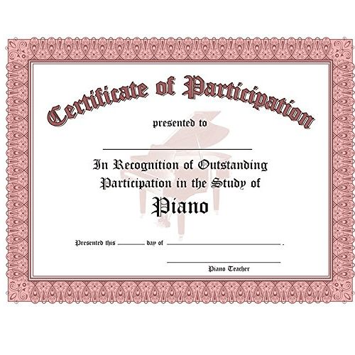 CERTIFICATE OF PARTICIPATION 10 PACK RED | Tom Lee Music