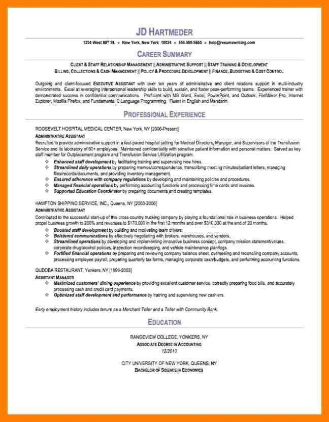 Career Summary Example. Resume Career Overview Example - Resume ...