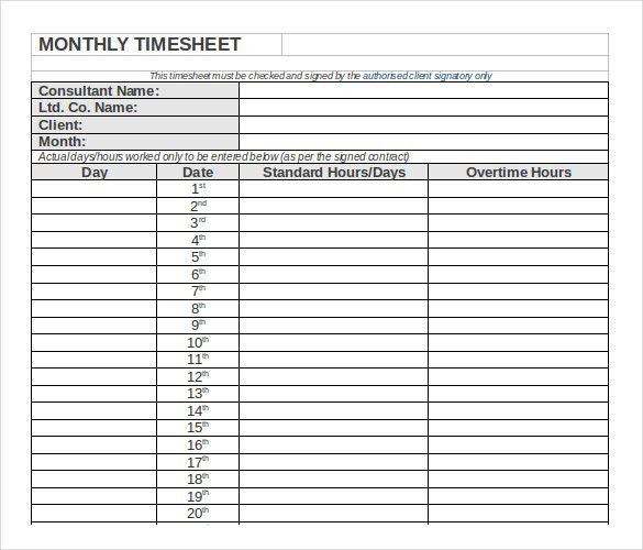 13+ Monthly Timesheet Templates – Free Sample, Example Format ...