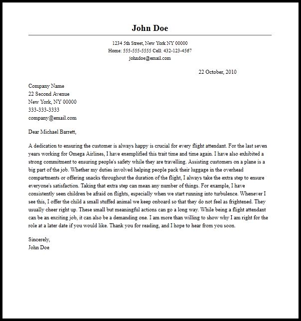Professional Flight Attendant Cover Letter Sample & Writing Guide ...