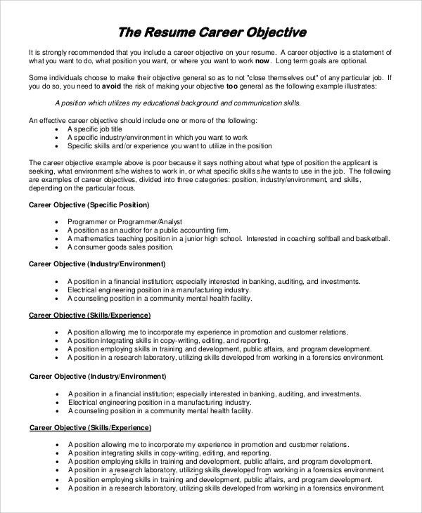 Resume Career Objective. Resumes Objectives | Resume Objective ...