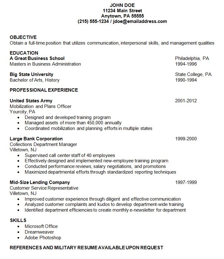Download Example Of A Resume | haadyaooverbayresort.com