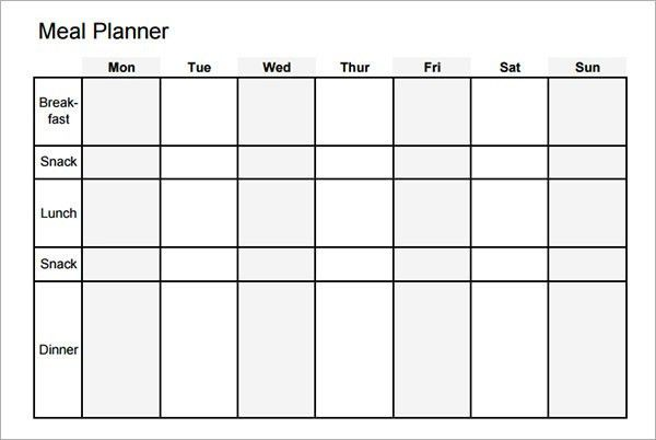 Sample Meal Planning Template - 15+Download Free Documents in PDF ...