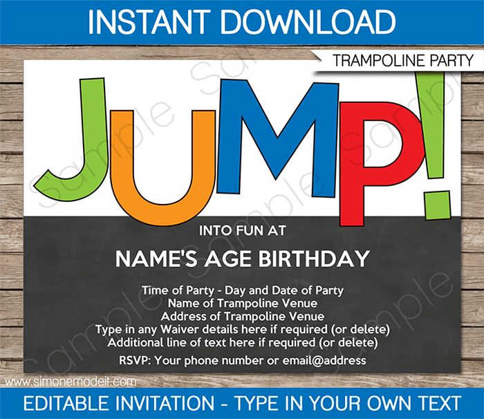 Trampoline Party Invitations | Birthday Party | Template