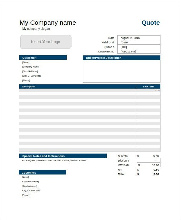 Sample Service Quote Template - 7+ Free Documents Download in ...