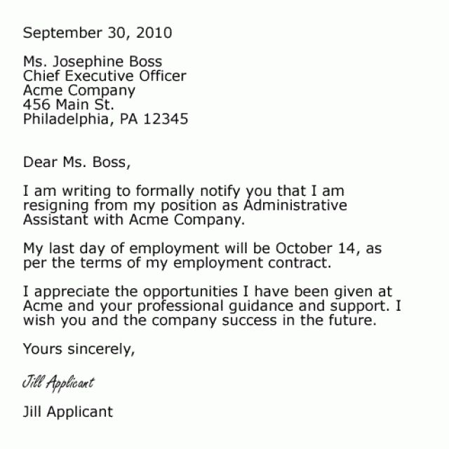 Resume Examples Templates: Resignations Letters Samples Free ...