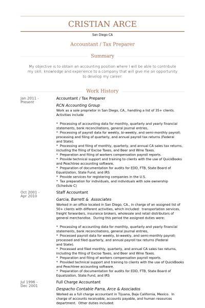 Préparateur D'impôt Exemple de CV - Base de données des CV de VisualCV