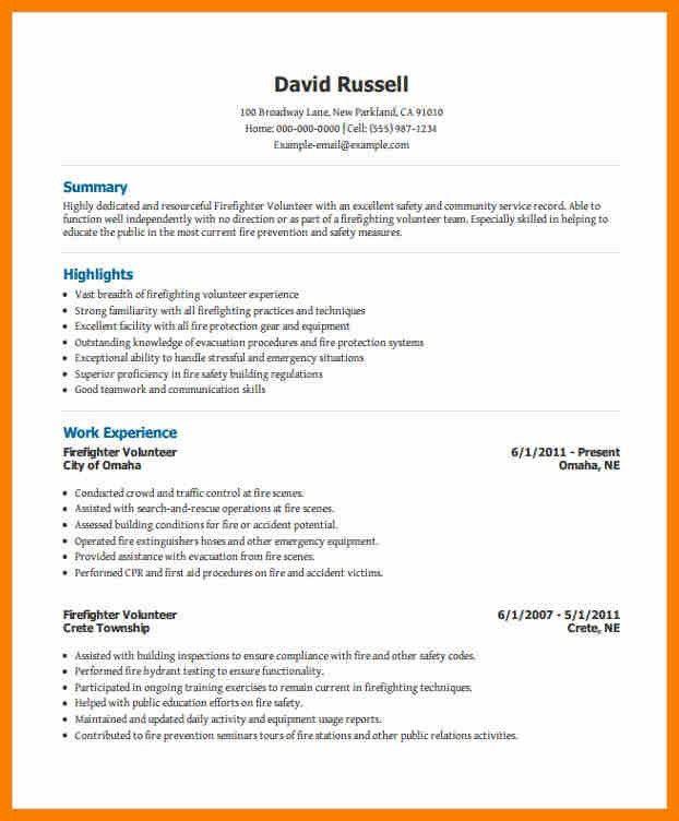 Firefighter Resume Templates Samples. first rate emt resume ...