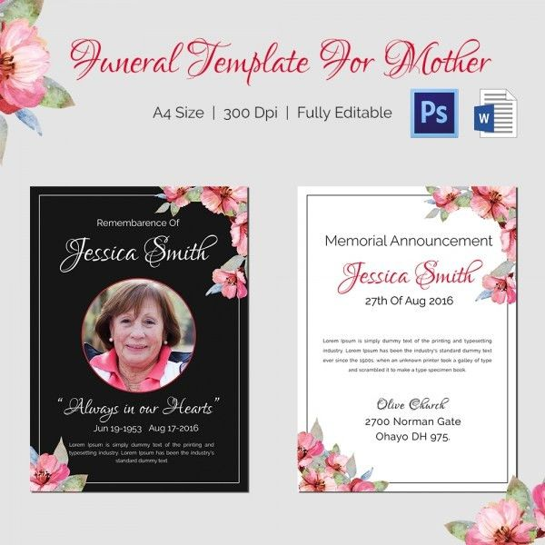 Mother Funeral Template - 5 Word, PSD Format Download | Free ...