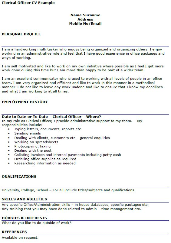 Clerical Support Cover Letter