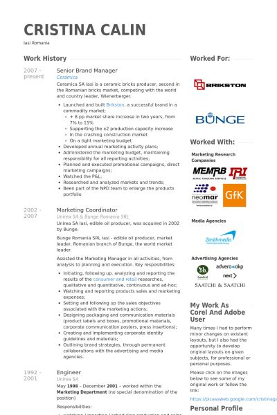 Senior Brand Manager Resume samples - VisualCV resume samples database