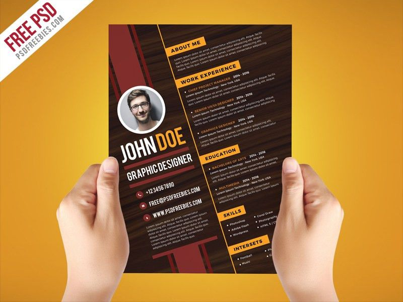 Free PSD : Creative Graphic Designer Resume Template PSD | free ...
