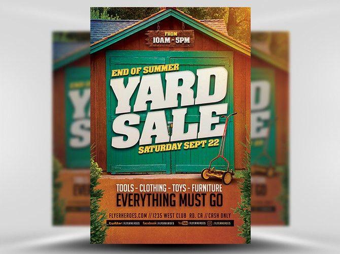End Of Summer Yard Sale Flyer Template - FlyerHeroes