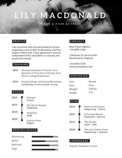 Black and White Monochromatic Infographic Resume - Templates by Canva