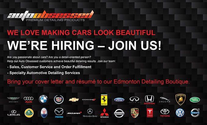 Job Opportunity, now hiring Edmonton Auto Detailer - Auto Obsessed