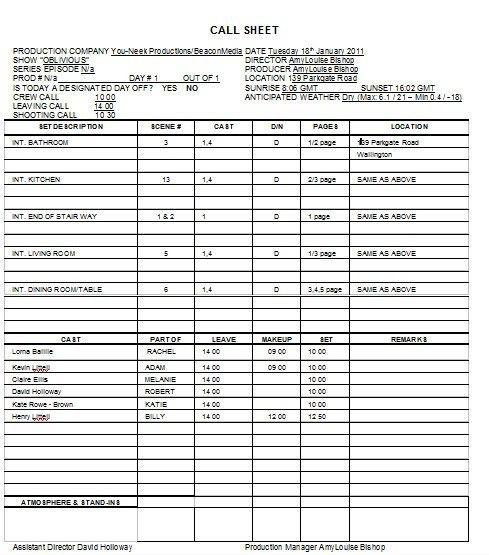 production call sheet template : Selimtd