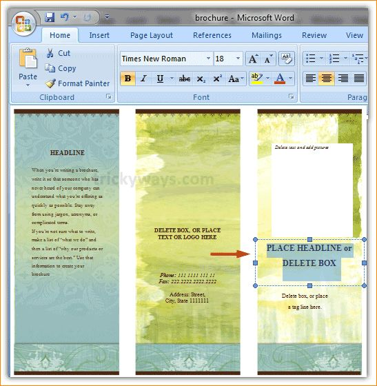 word pamphlet template