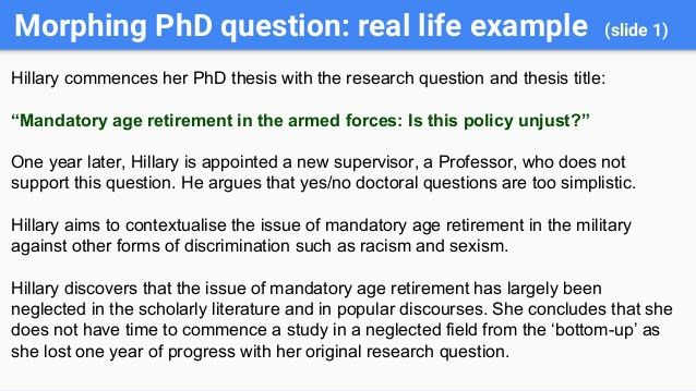 Fine tuning your dissertation research question.