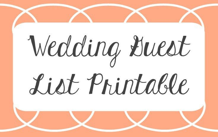 Wedding Guest List Printable | Plan Your Wedding Guest List