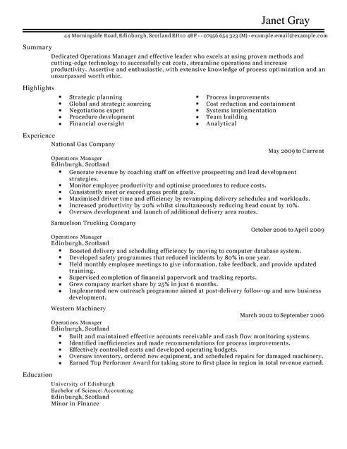 Operations Manager CV Example for Management | LiveCareer