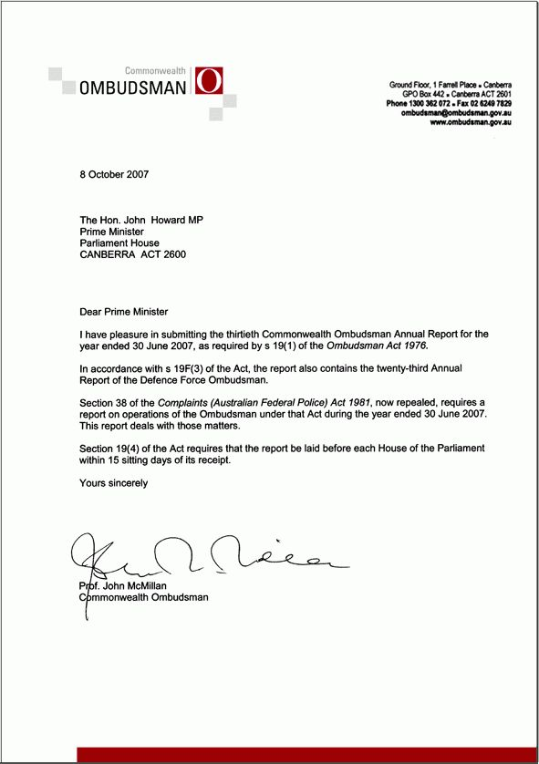 Transmittal letter | Commonwealth Ombudsman Annual Report 2006-07 ...