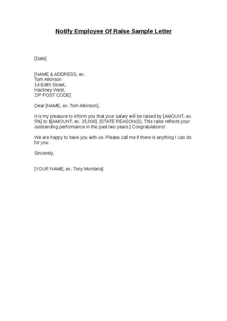 Employee Raise Letter | Best Example Of Business Template