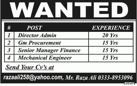 Director Admin, GM Procurement, Finance Manager & Mechanical ...