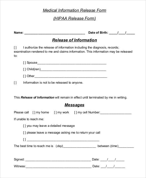 Information Release Form Template] Release Of Information Form ...