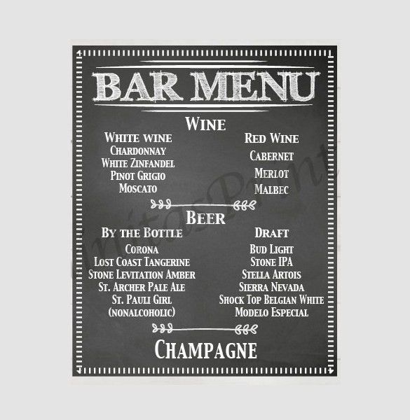 23+ Bar Menu Templates – Free Sample, Example Format Download ...