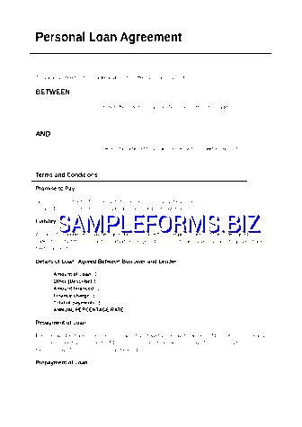 Personal Loan Agreement doc pdf free — 2 pages