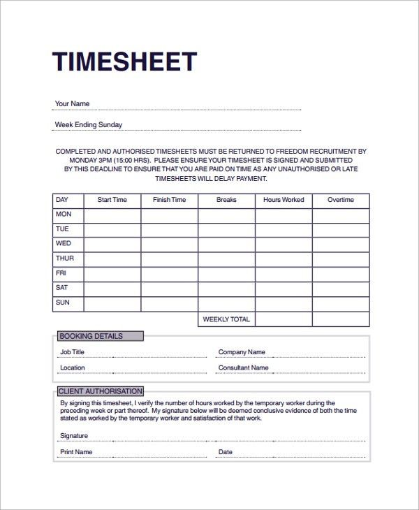 Sample Consultant Timesheet Template - 9+ Free Documents Download ...