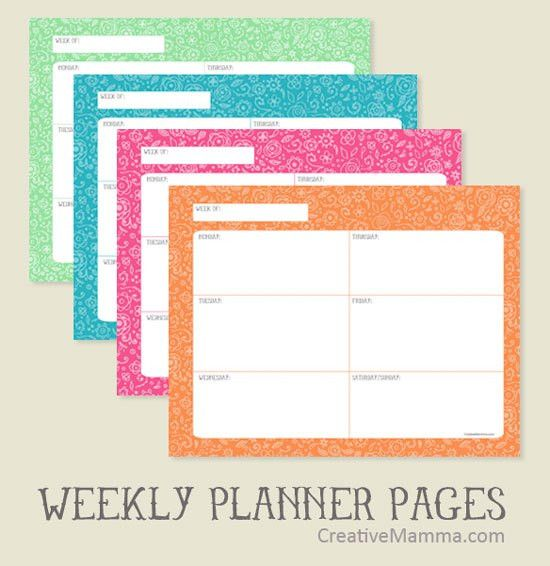 Creative Mamma » Free Printable: Doodle Weekly and Daily Pages V.2