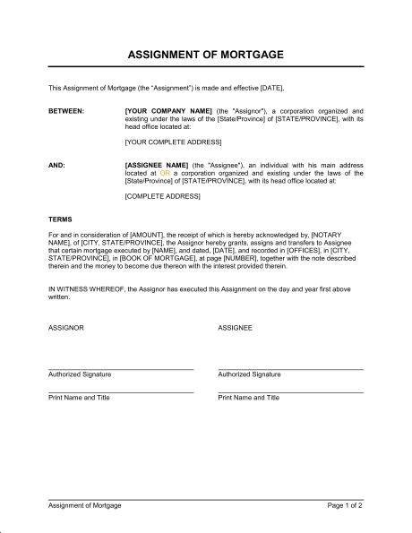 Assignment of Mortgage - Template & Sample Form | Biztree.com