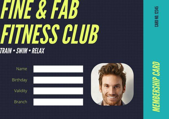 Black Teal Neon Yellow Gym Membership Fitness ID Card - Templates ...