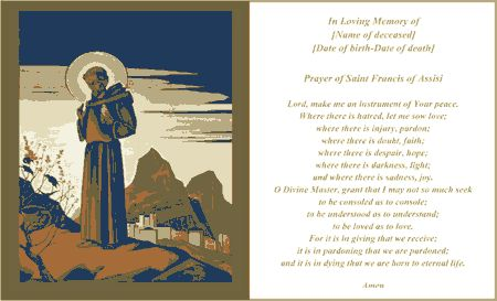 Prayer Of Saint Francis Funeral Card (2 per page) Template
