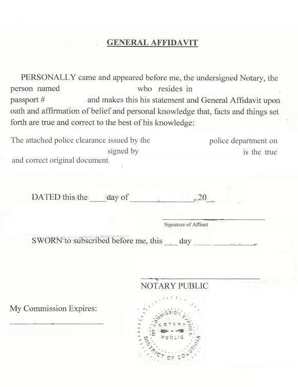 How to notarize a (state, city, or county) U.S. police clearance ...
