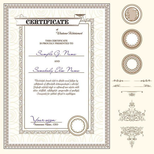 Certificate template and Decoration Borders design vector 03 ...