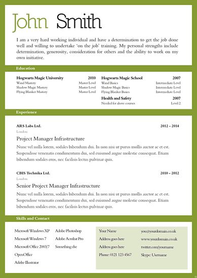 Basic CV Templates : CV and Cover Letter Template 104scr
