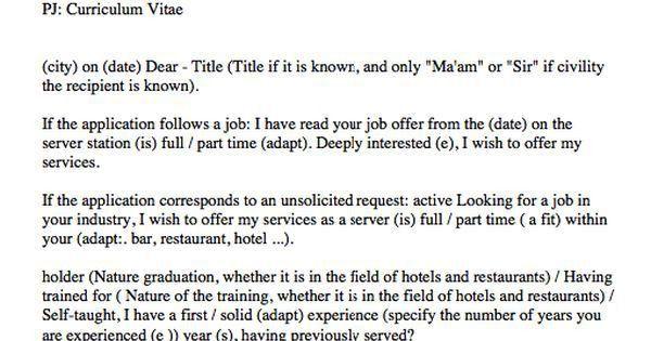 waitress cover letter sample - http://resumesdesign.com/waitress ...