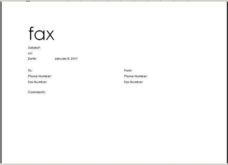 Fax Template Microsoft Word | Template Design