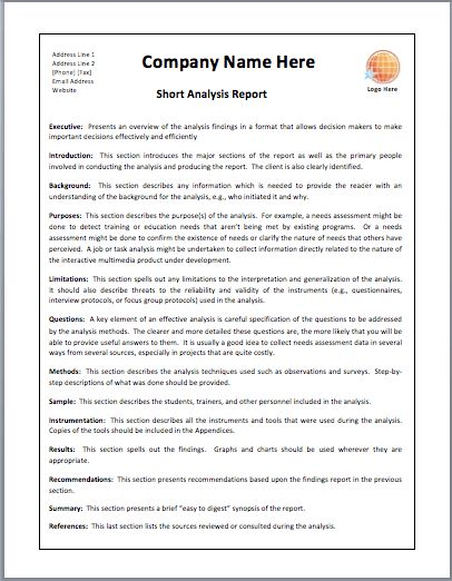 Appealing Short Analysis Report Template Example with Company Name ...