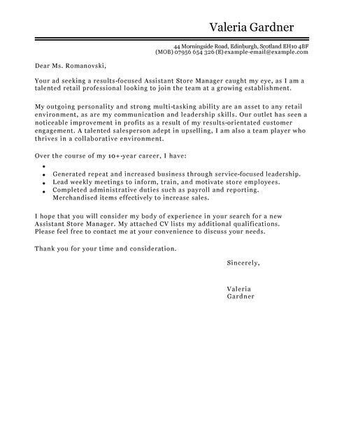 Assistant Retail Manager Cover Letter