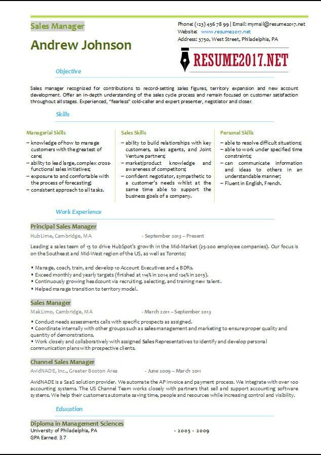 Sales Manager Resume Template 2017 •