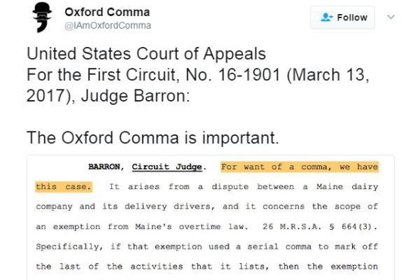 Court case opens up writer brawl over the Oxford comma | Articles ...