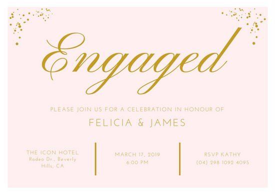Pink & Gold Elegant Engagement Invitation Card - Templates by Canva