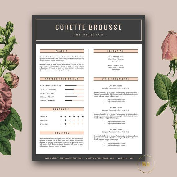 Creative Resume Template | 3 page CV Template and FREE Cover ...