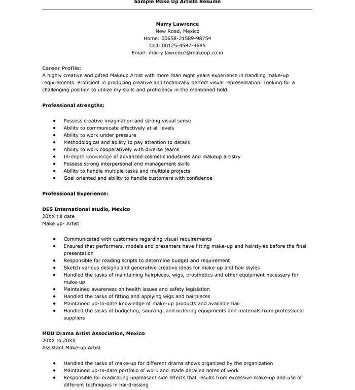 Download Artist Resume Sample | haadyaooverbayresort.com