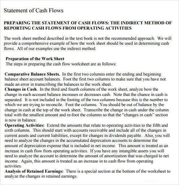 Sample Cash Flow Statement - 7+ Examples, Format