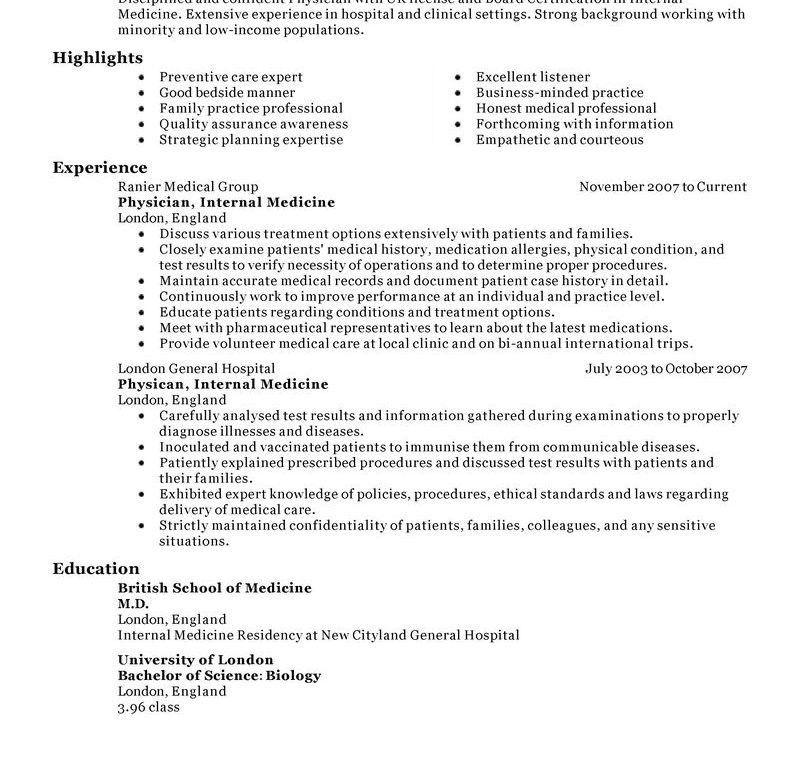 Resume Templates For Doctors | haadyaooverbayresort.com